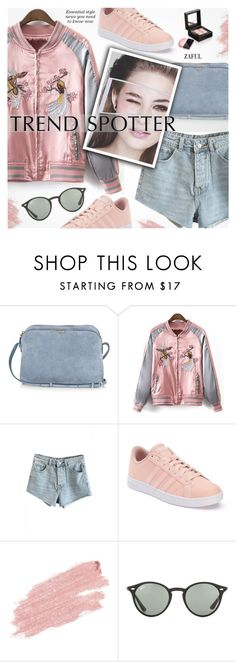"""""""Trend Spotter:Bomber Jacket"""" by pokadoll ❤ liked on Polyvore featuring The Row, adidas, Jane Iredale, Ray-Ban, Givenchy, polyvoreeditorial, polyvorefashion, polyvoreset and zaful"""