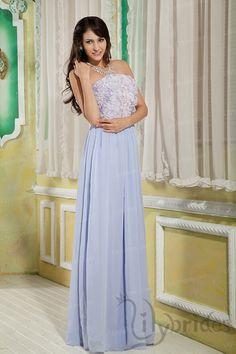 A-line Strapless Stretch Satin Chiffon Floor-Length Prom Dress