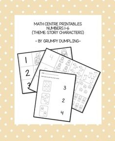 Practice number and quantities up to 6 - game and worksheet set with story characters ♥ kindergarten math