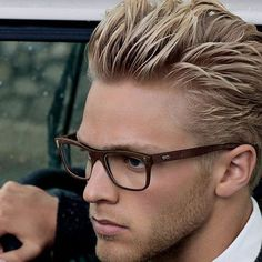 THIS is blond hair for the visually challenged Men's Grooming, Hair And Beard Styles, Short Hair Styles, Blonde Guys, Men Blonde Hair, Short Blonde, Mens Glasses, Nice Glasses, Great Hair
