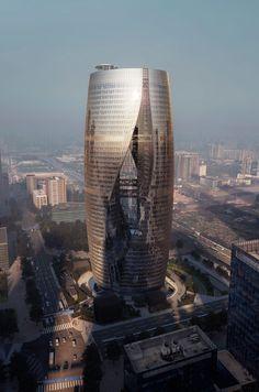 Exterior view. Leeza SOHO skyscraper by Zaha Hadid Architects. Photography © MIR