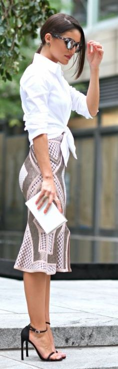#fashion #style #streetstyle white shirts, purse, midi skirt. Summer women fashion outfit clothing style apparel @roressclothes closet ideas