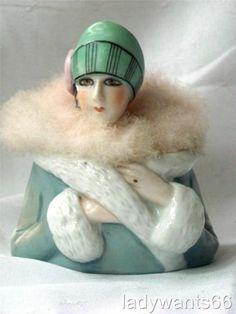 Art Deco Fasold Stauch Flapper Lady Pin Doll Head Swansdown Puff Powder Dish | eBay