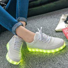 Fashion Unisex LED Light Lace Up Luminous Shoes Sportswear Sneaker Casual Shoes USB Charging