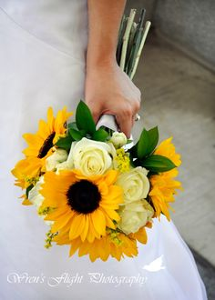 Sunflower Wedding Bouquet - I love the brightness of the sunflowers with the soft yellow roses - such a sweet combo!