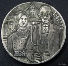 "Carved Hobo Nickel version of ""American Gothic"" - art by Shaun Hughes, photo from Hobo Nickel Art"
