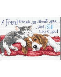 A Friend Knows~   This cozy couple epitomizes the meaning of friendship. You'll want to share this sentiment with a special friend. The design is stitched on 14 count white Aida with colorful shades of cotton thread.    Kit contains cotton thread, 14 count white Aida, needle and easy instructions....      Manufacturer:Dimensions, Inc.