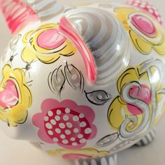"""Ceramic Piggy Bank. Hand Painted. Original design. Gray and yellow floral Custom orders welcomed. Include changes in the comments section or 'contact us' with a special request. Measures 8.5"""" tall X 9"""