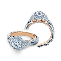 18k Two Tone Verragio Venetian Collection Halo Design Diamond Engagement Ring