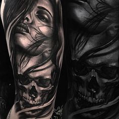 Image may contain: 1 person Skull Girl Tattoo, Girl Face Tattoo, Sugar Skull Tattoos, Face Tattoos, Best Sleeve Tattoos, Badass Tattoos, Tattoo Sleeve Designs, Forearm Tattoos, Body Art Tattoos
