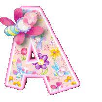 Alegre alfabeto de flores con mariposas.