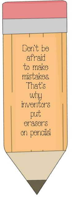 Pencil Mistake Poster. FREE Remind students that it is OK to take risks and make mistakes, so that we can learn.
