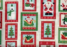 Items similar to Christmas Blocks fabric - Santa snowman reindeer penguin polar bear trees sleigh - red green metallic gold accents - by the YARD on Etsy Reindeer, Snowman, Christmas Blocks, Etsy Fabric, Gold Accents, Red Green, Delicate, Santa, Quilts