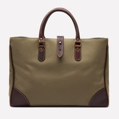 Ettinger London – Luxury Leather Goods –  Pursuits Piccadilly Canvas Tote in Olive