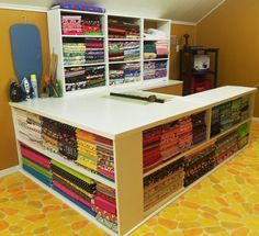 70 Super Ideas For Sewing Room Inspiration Cutting Tables Storage Sewing Room Storage, Sewing Room Organization, Craft Room Storage, My Sewing Room, Sewing Rooms, Fabric Storage, Storage Ideas, Table Storage, Craft Rooms
