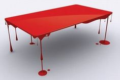 The table is a beautiful artwork which looks like some paint dripping down the table or a table soaked in blood. The table stands on legs made in shape of dripping blood which gives it a unique & at the same time creepy appeal. Funky Furniture, Art Furniture, Unique Furniture, Furniture Design, Cheap Furniture, Painted Furniture, Victorian Furniture, Furniture Websites, Inexpensive Furniture