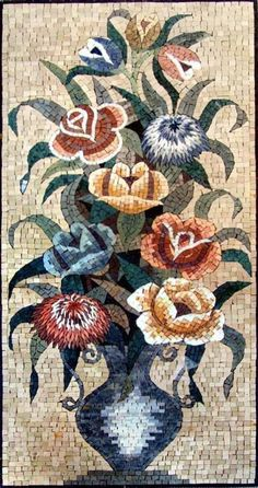 Uniquely crafted handmade mosaic tile art of a flower arrangement that is composed of all natural stones and hand-cut tiles and can be used as a floral decor on a wall mural. Perfect gift option for any nature or flower lover's home. Mosaic Tile Art, Mosaic Artwork, Marble Mosaic, Mosaic Glass, Glass Wall Art, Stained Glass Art, Art Nouveau, Vase Crafts, Diy Crafts