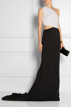 Stella McCartney | Cutout two-tone stretch-crepe gown | NET-A-PORTER.COM.  Love the minimalist vibe