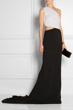 Stella McCartney|Cutout two-tone stretch-crepe gown|NET-A-PORTER.COM