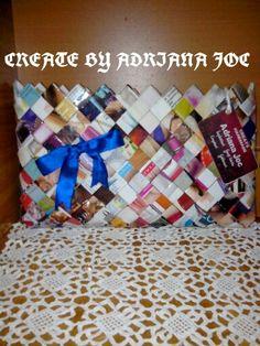 Geanta handmade realizata din reviste,disponibila