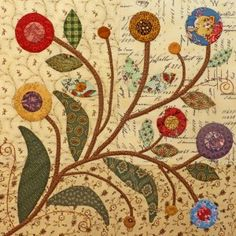 Primitive-ish flowers of layered circles on stems with leaves; mixed background. Rambling Ways Quilt Block Two/Pine Valley Quilts