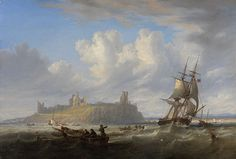 John Wilson Carmichael, A Merchantman with other local shipping in a swell of Dunstanborough Castle, Northumberland