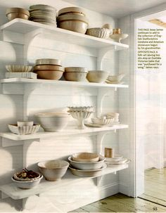 open shelves for display