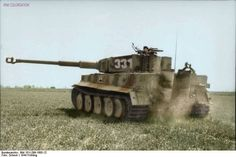 "Tiger N°331 In France. The famous 88mm gun. The tank was given its nickname ""Tiger"" by Ferdinand Porsche, it was one of the most powerful tank during the World War II."