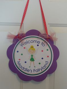 Tinkerbell+Inspired+Custom+Door+Sign+by+CustomParty4U+on+Etsy,+$10.00