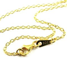 Gold plated Sterling Silver Strong Cable Chain Necklace, 2mm Gold Necklace Chain - All Sizes (16) >>> For more information, visit