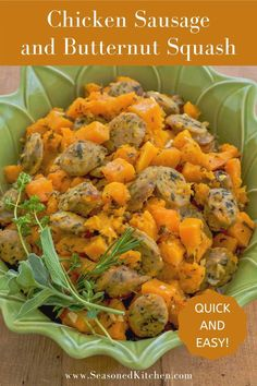 Quick and easy to prepare, roasted chicken sausage and butternut squash is full of both flavor and color. And, it's so scrumptious your whole family will love it! Calling for only 7 ingredients, you simply slice chicken sausage and roast it together with the squash, olive oil, garlic and a mixture of fresh herbs. Don't have fresh herbs on hand? No problem! Just use dried. #chickensausagerecipes #quickandeasydinners #kidfriendlyrecipes #pantryingredients #seasonedkitchen Chicken Sausage Recipes, Turkey Recipes, Night Dinner Recipes, Dinner Ideas, Dairy Free Recipes, Gluten Free, Chicken And Butternut Squash, Roasted Chicken, Sin Gluten