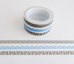 Set of 3 rolls of mini washi masking tapes with scalloped wave patterns in black and blue. Great for travel journals, scrapbooking, gift wrapping, decorating cards and envelopes and more! Add a little