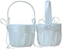 AmaJOY 2pcs Beach Wedding Flower Girl Basket Ivory Flower Basket with Double Heart Rhinestone Decor