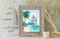 Beach Is Calling Quote Print - Beach House Art - Nautical Wall Decor - Watercolor Waves - Coastal Decor - Ocean Art - Palm Tree Print