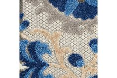 Nourison Aloha 10' Runner Blue Patio Area Rug | Ashley Furniture HomeStore Blue Patio, Plush Pattern, Lace Sheath Dress, Indoor Outdoor Rugs, At Home Store, Contemporary Design, Wool Rug, Hand Carved, Area Rugs