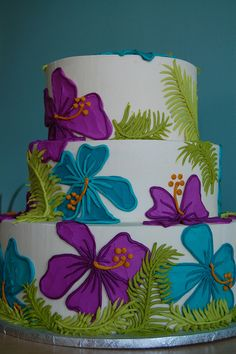 Hibiscus cake-- a different take on 'Hawaiian theme' Gorgeous Cakes, Pretty Cakes, Amazing Cakes, Unique Cakes, Creative Cakes, Hibiscus Cake, Luau Cakes, Hawaiian Cakes, Hawaiian Parties