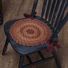 Burgundy Tan Jute Chair Pad 15 Kitchen Chair Pads, Kitchen Chair Cushions, Kitchen Chairs, Cushions On Sofa, Chair Ties, Cheap Chairs, Round Chair, Country Primitive, Primitive Decor