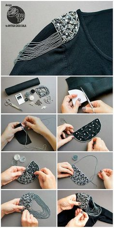- Mach Es Selbst DIY : luxury-process-_-gloria-fortluxury-process-_-gloria-fort - Mach Es Selbst DIY : luxury-process-_-gloria-fort Creative ideas about stitching and sewing. 16 DIY Ideas to Make Everything Shine M. Sleeves Designs For Dresses, Sleeve Designs, Blouse Designs, Embroidery Fashion, Embroidery Jewelry, Embroidery Designs, Diy Embroidery, Fashion Sewing, Diy Fashion