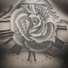 Sternum tattoo of our classic Money Rose nicely done by - nice n well done Rose Tattoo Forearm, Cool Forearm Tattoos, Sternum Tattoo, Chicano Art Tattoos, Body Art Tattoos, Girly Tattoos, Rose Tattoos, Tattoo Sleeve Designs, Sleeve Tattoos
