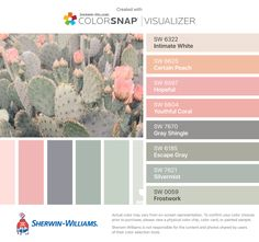 I found these colors with ColorSnap® Visualizer for iPhone by Sherwin-Williams: Intimate White (SW 6322), Certain Peach (SW 6625), Hopeful (SW 6597), Youthful Coral (SW 6604), Gray Shingle (SW 7670), Escape Gray (SW 6185), Silvermist (SW 7621), Frostwork (SW 0059).