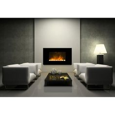 Dimplex Wall Mounted Saratoga LED Black Optiflame® Landscape Coal Effect Electric Fire (SGA20)
