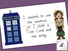 """Today's featured #crossstitch pattern: """"I wanted to see the universe, so I stole a Time Lord and ran away."""" This pattern was inspired by the Doctor Who episode """"The Doctor's Wife"""" and features the #TARDIS as bot... #sci-fi #fantasy #tardis #geek #nerd #idris"""