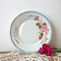 Vintage White Plate with Pink and Brown by TheHeirloomShoppe