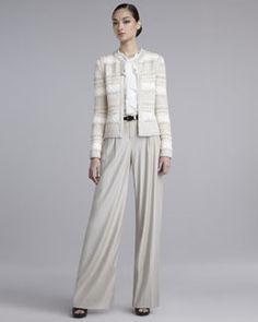 -3WK7 St. John Collection Lofty Hand-Knit Jacket, Crepe de Chine Blouse & Wide-Leg Pants