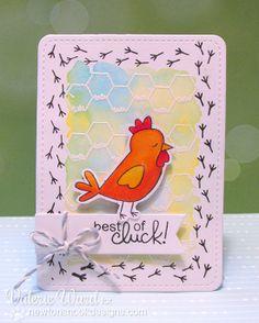 Chicken card by Valeries Ward for Newton's Nook Designs | Chicken Scratches Stamp