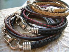 Mens Leather Bracelet  Four Strand Double by UrbanSurvivalGearUSA, $24.99