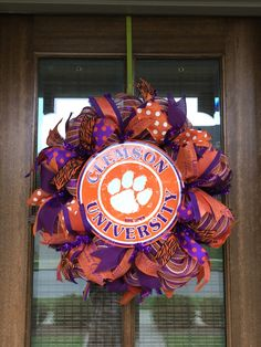 It's ALMOST Football TIME! Clemson University Tigers FOOTBALL Deco Mesh Wreath by Funnygirlwreaths on Etsy