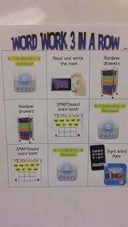 Word Work 3 in a Row - love this to help manage stations and student activities: http://malchowsreflections.blogspot.com/2011/10/word-work-with-tech-twist.html