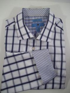 EGARA Long Sleeve Shirt Blue Check w/Blue Strip Flip Cuffs 100% Cotton Size XXL  #EGARA