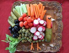 fresh vegetable tray displayed like a turkey